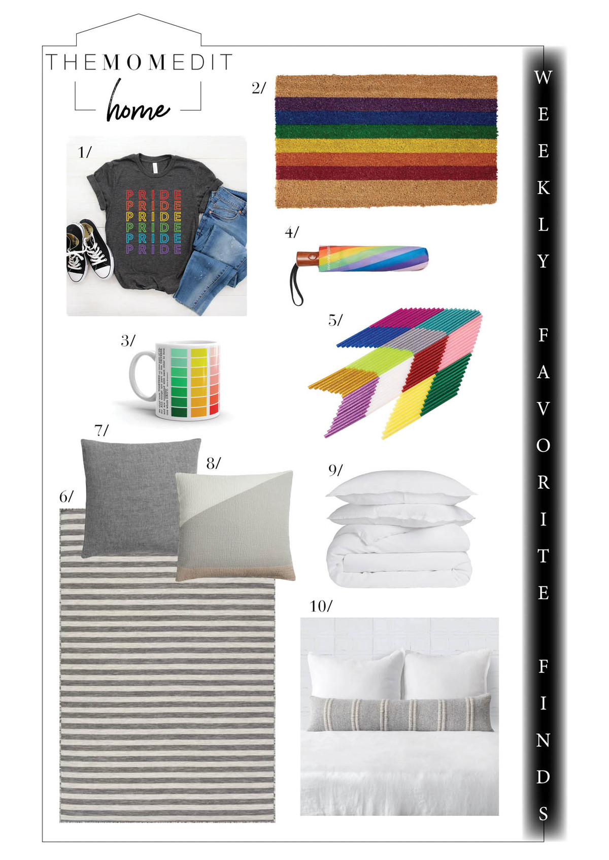 Weekly favorite finds in celebration of Pride (think rainbows) & better bedding — see West Elm's big sale. Black-owned business too—more gorg textiles & soy candles!