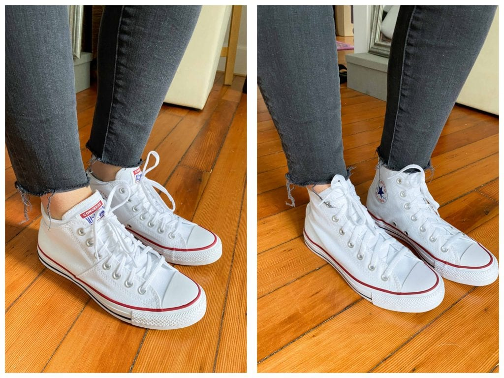 We're pretty sure the Chuck Taylor All-Star Madison Mid-Top is a newer option from Converse, & we're happy to report it's SO GOOD. Check out these white sneaks.