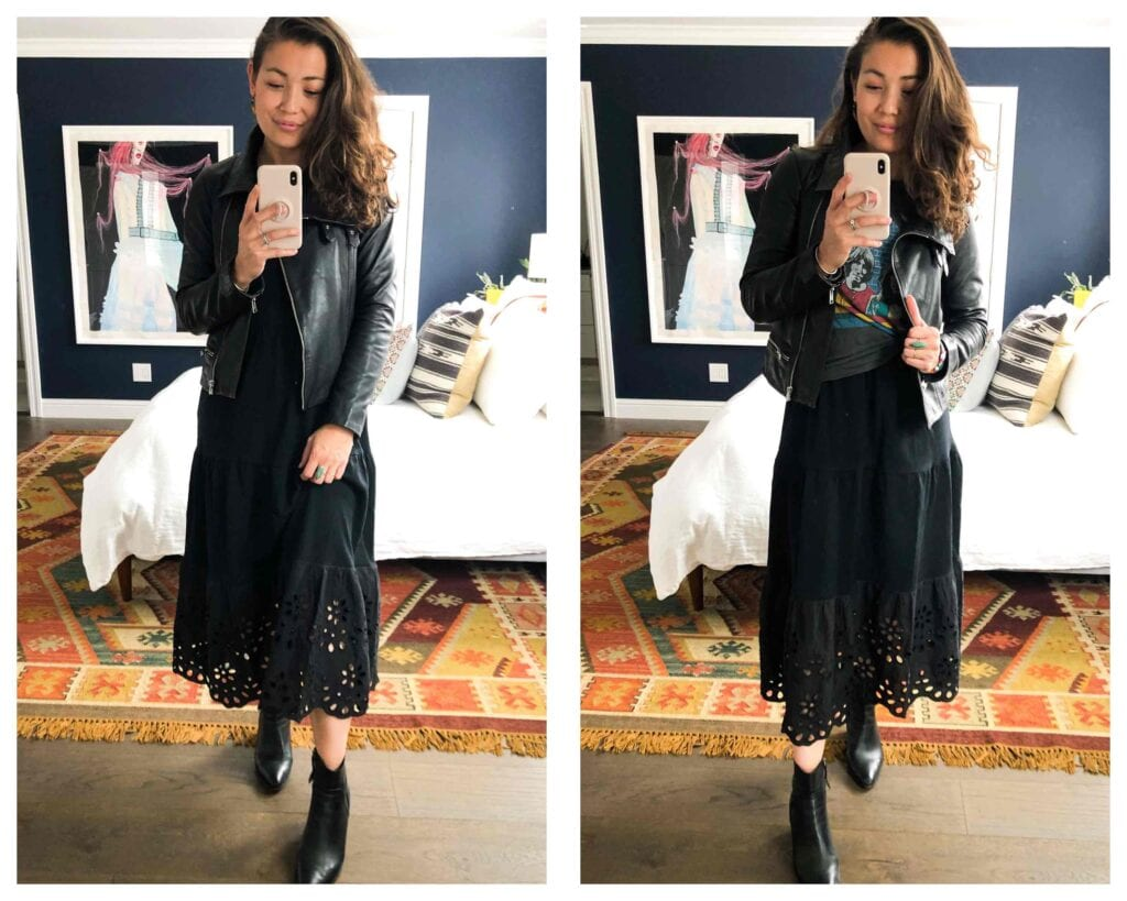 This long black maxi dress from J.Crew is the perfect outfit staple. A graphic tee, a denim jacket, a shrug — 8 ways to wear it, year-round.