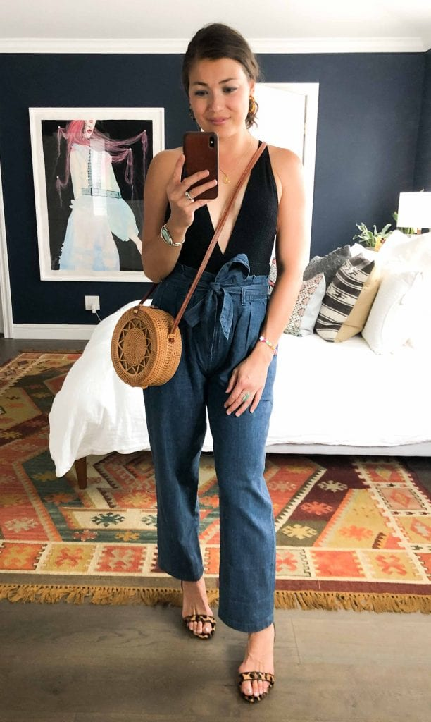 Flattering. Wearable. The chambray paper-bag waist pants at J.Crew = the key to style from errands to work to vacation. 11 outfits ideas, inside.