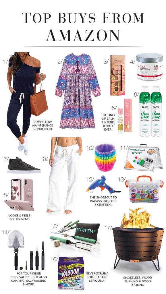 """A little audit on my quarantine Amazon order history — tie-dye, a jumpsuit, beauty — for the items that are """"the best""""? These are my top 17."""