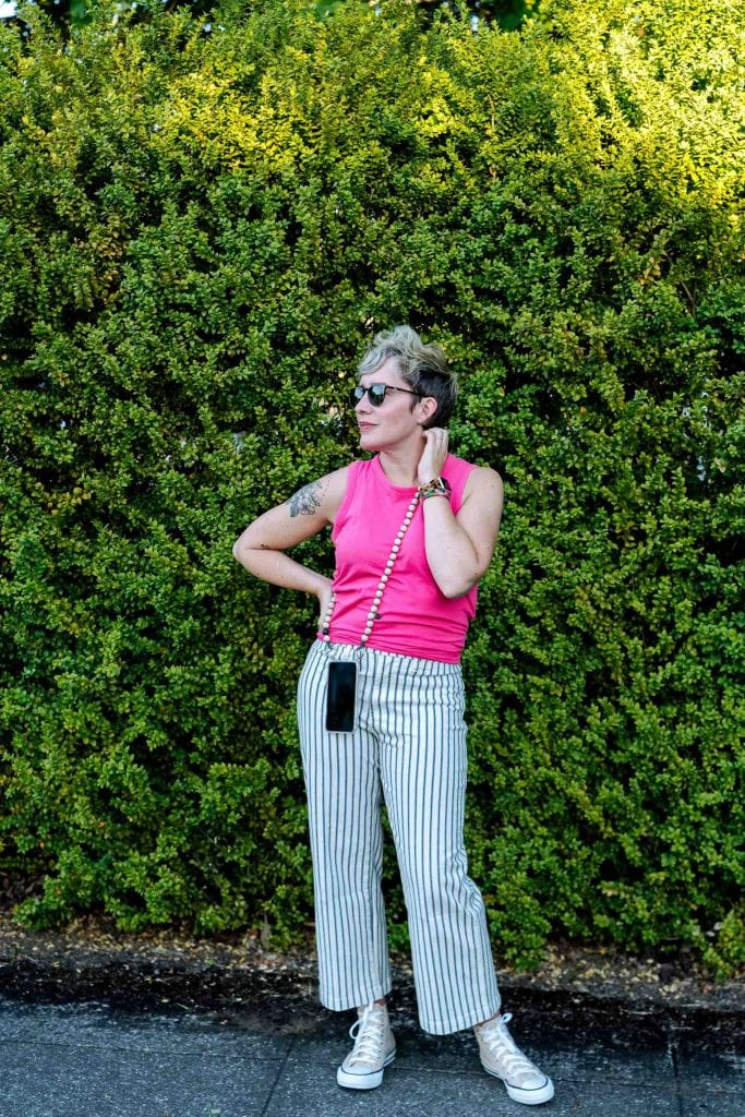 Fresh & fun summer outfit idea? J.Crew striped wide-leg pants. They play well w/ Converse & Birkenstocks + this pink tank top.