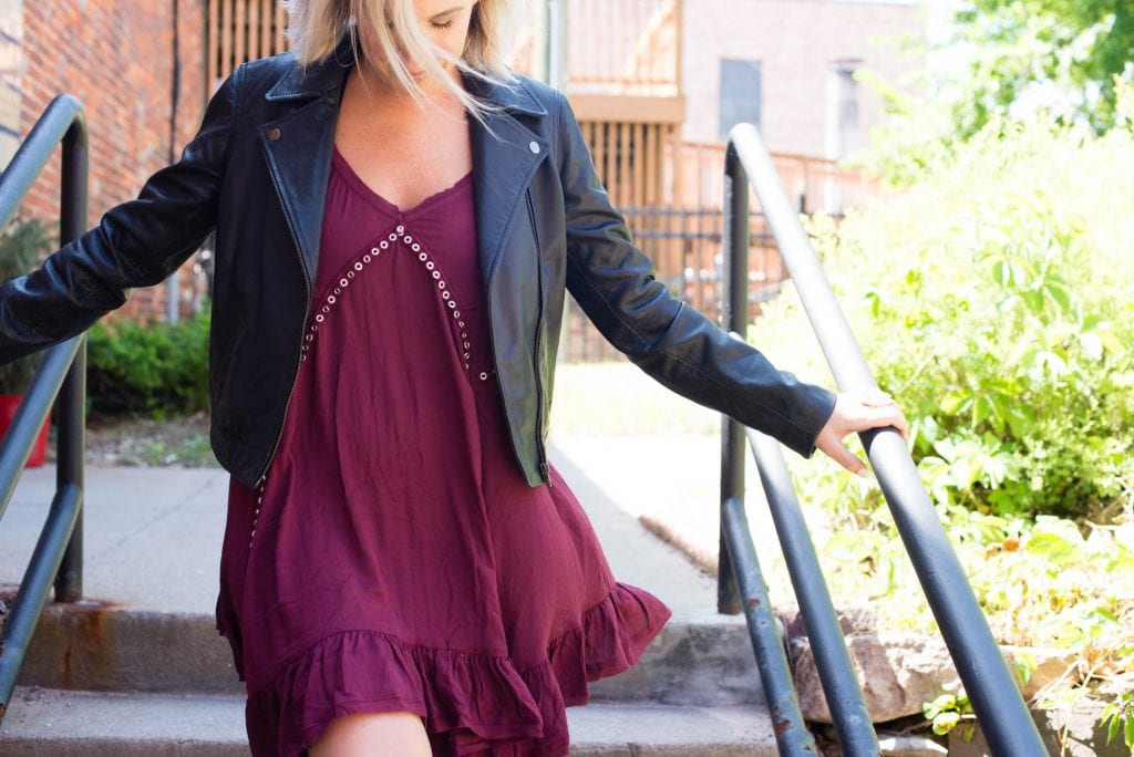 Little breezy slip dresses are a summer fav. Not too tight, not too short & perfect for hot temps...The Free People mini dress, styled w/ a bralette, a denim jacket & leather.