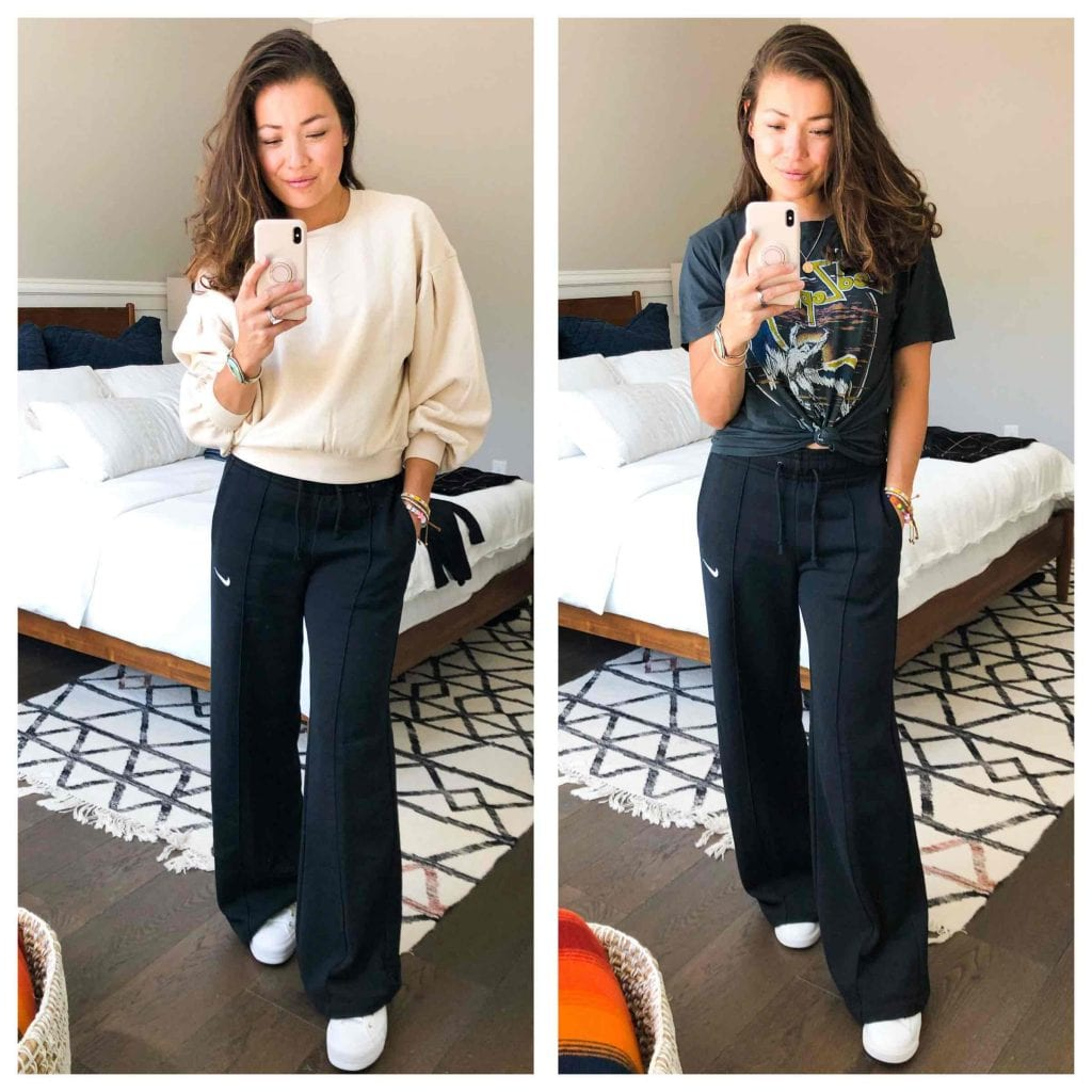 A Nordstrom Anniversary Sale review of all things soft & stretchy. adidas leggings, Nike sweatpants & a knit dress. Call it loungewear-chic.
