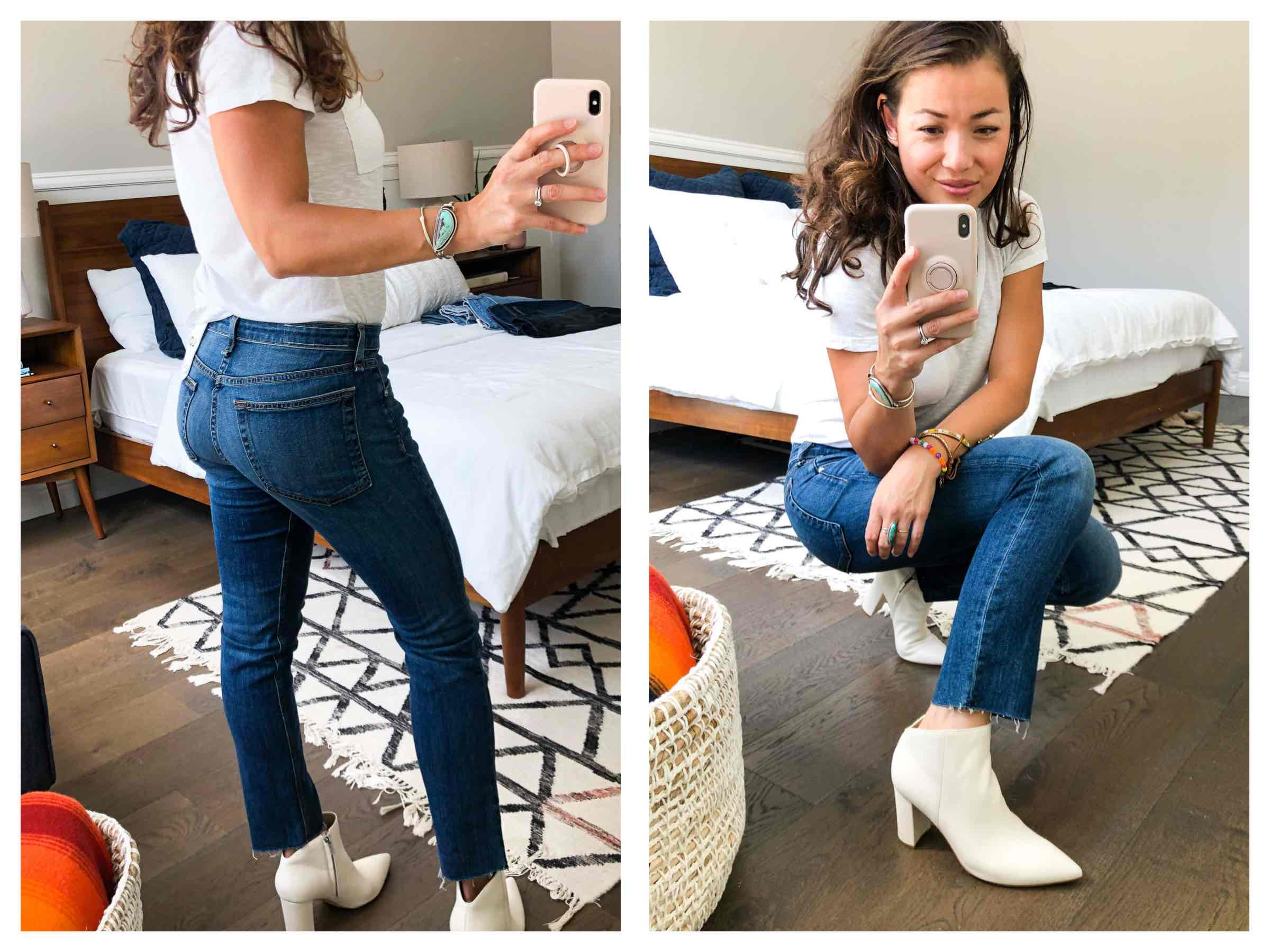 m tried & reviewed 6 pairs of jeans in the Nordstrom Anniversary Sale. Levi's 501s, rag & bone, Good American...see her Early Access faves.