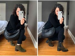 The Vince Henderson Chelsea Boot & the Aquatalia block-heeled booties, both in army green, are #NSale outfitmakers. Proof: 9 fall outfit ideas.