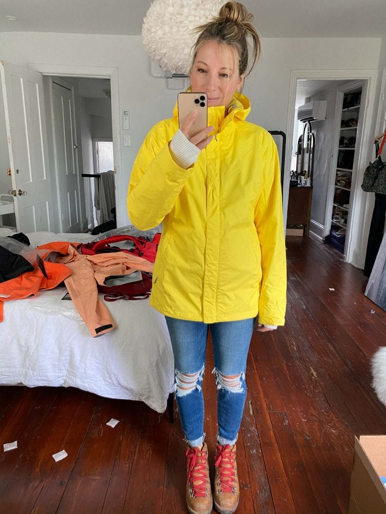 Needed? A new rain jacket for hiking. Backcountry has many waterproof, windproof jackets - flattering & gorg. The North Face, Columbia or Arc'Teryx?