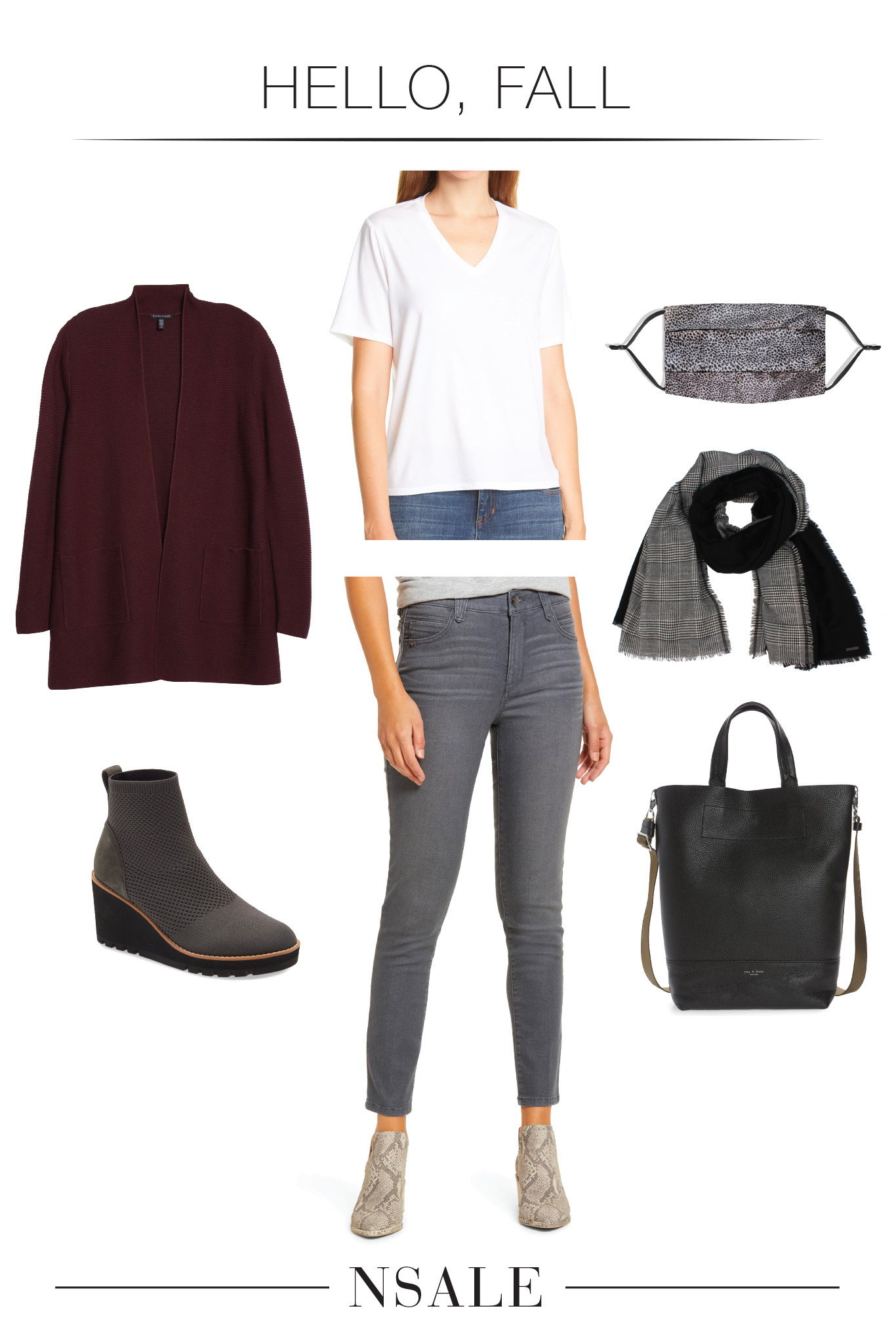 A higher quality cardigan (silk + cashmere) w/ plus-size available. Add cute EILEEN FISHER booties & an eco-conscious v-neck tee...these are major deals.