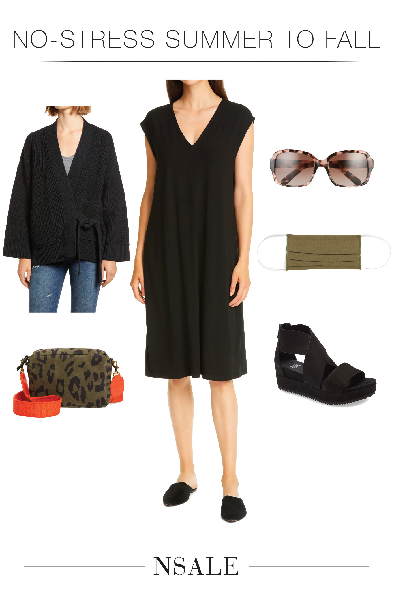 For this EILEEN FISHER dress (high-quality, soft & comfy) we're styling sandals for now (+ a face mask), then, a sweater, tights & boots for later.