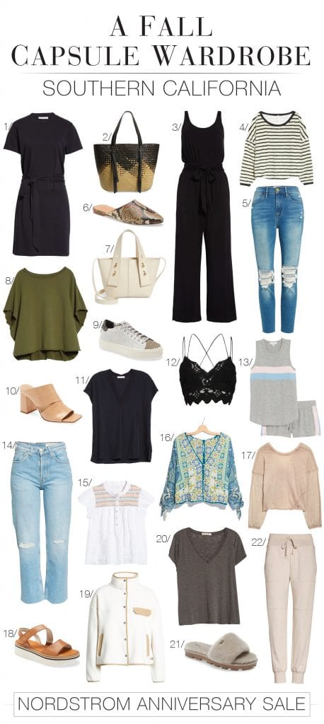 We created a Nordstrom Anniversary Sale capsule wardrobe of warm-weather outfit pieces we'd happily wear in LA. A decidedly SoCal vibe perfect for fall.