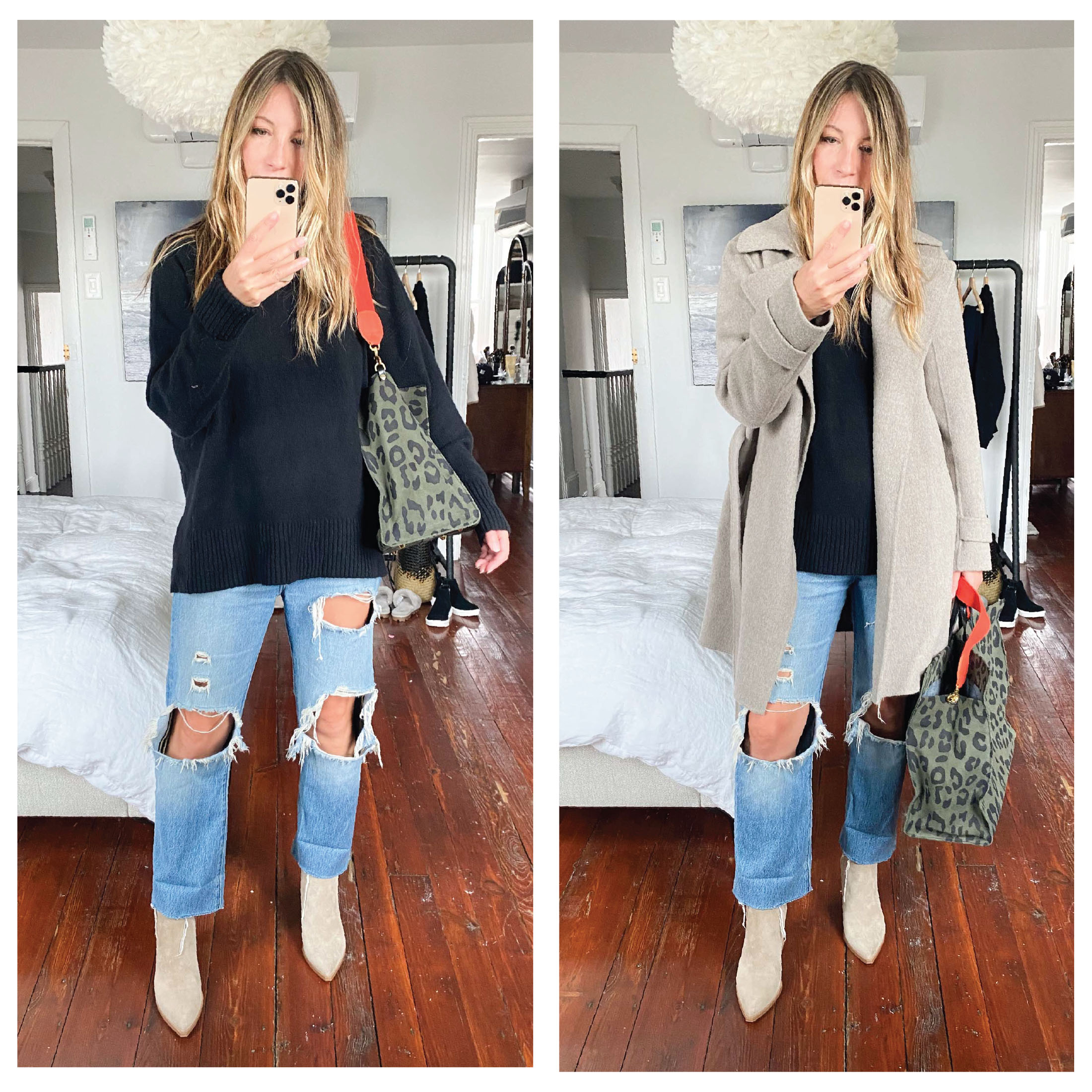 Annoying Outfit Problem we have every. freaking. year: styling light-wash jeans, w/ boots. Answer: taupe booties. Perfect style balance.