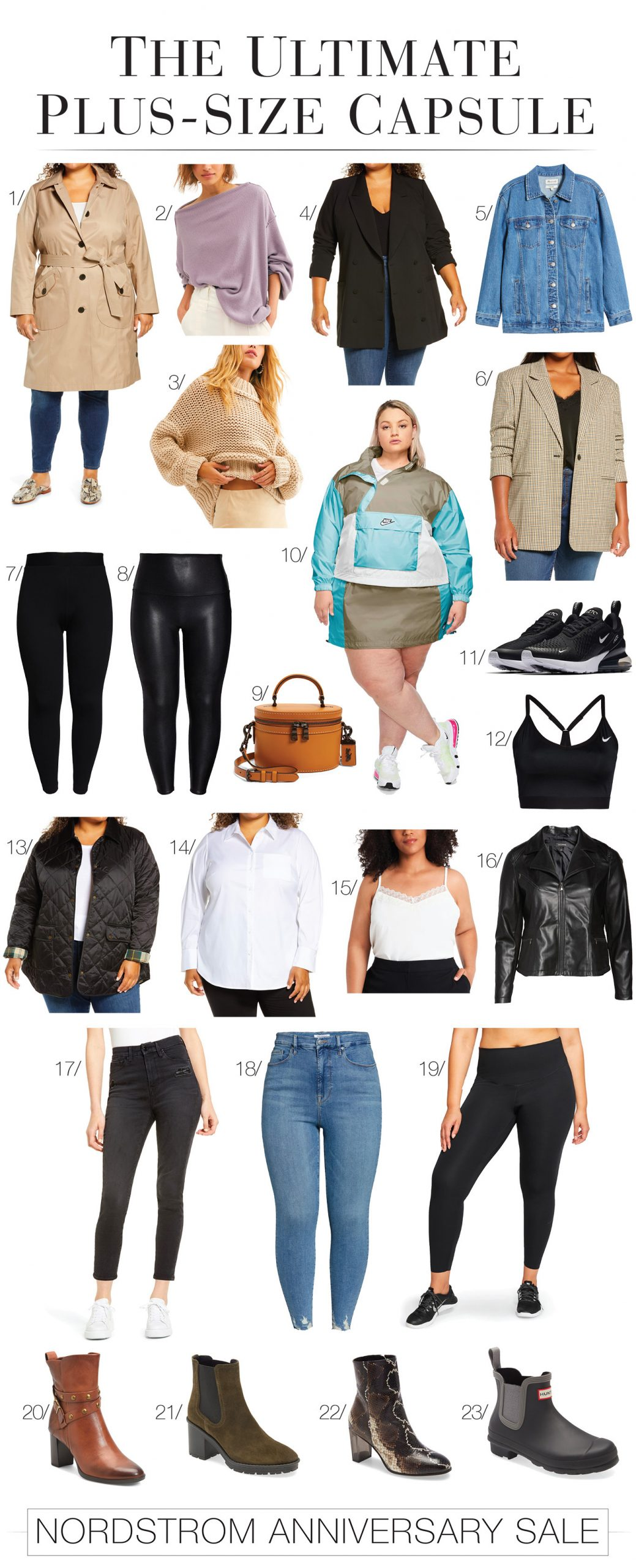 The Nordstrom Anniversary Sale is on point w/ plus-size picks. A casual-chic capsule wardrobe w/ athletic-wear, jeans, jackets & shoes. Woot!
