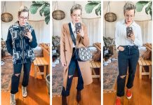Topshop dad jeans are high waist, straight-leg denim (in a ripped, black wash) that go well w/ all the fall outfits - like these coats, shoes & boots.