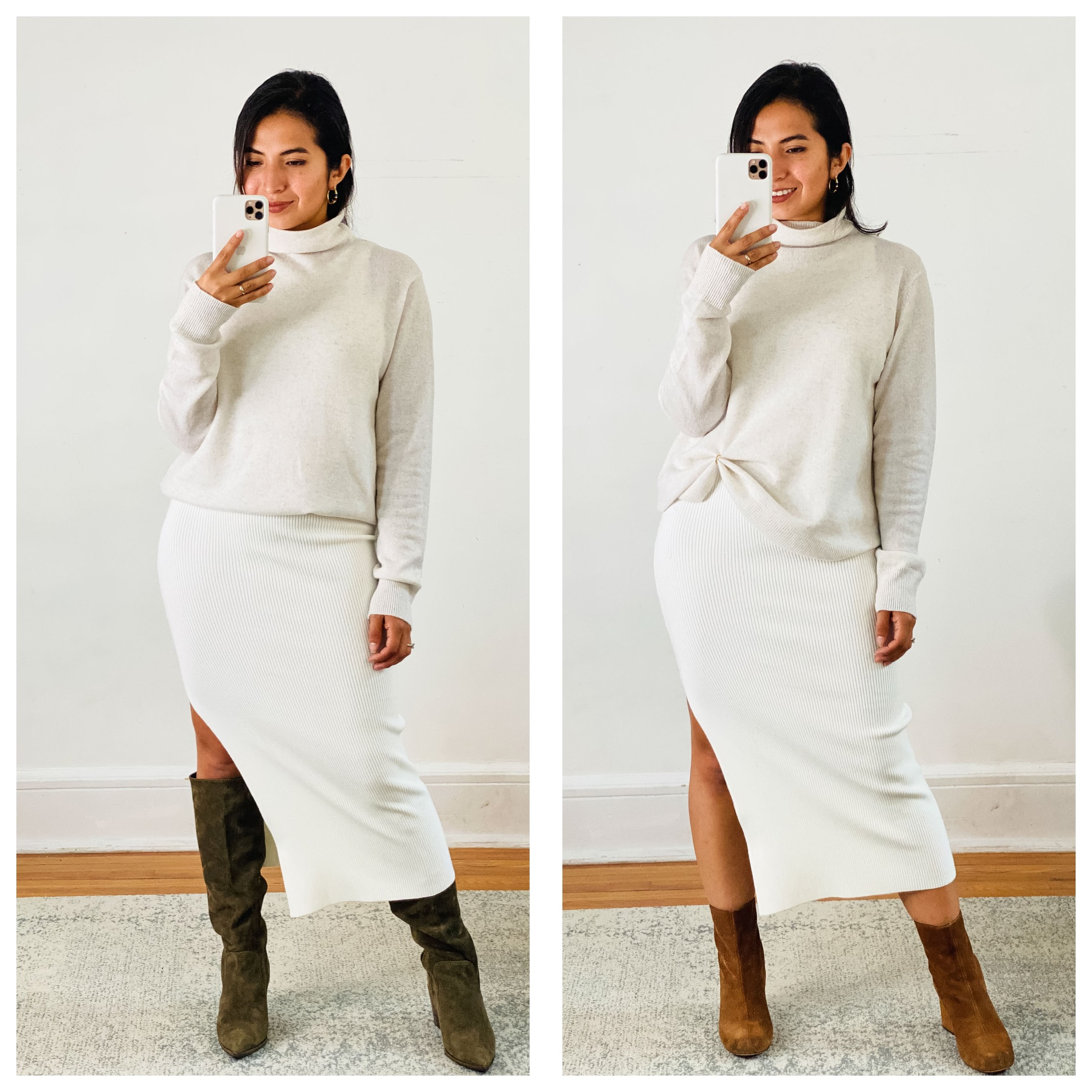 Shop the Nordstrom Anniversary Sale for chic clothes to wear at home. Julieta's formula —from jeans to sweaters & a knit midi dress is perfect.