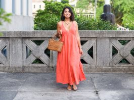 This gauzy summer maxi dress is coral: a color that looks good w/most complexions. Here's how to style this deep pink for all undertones.