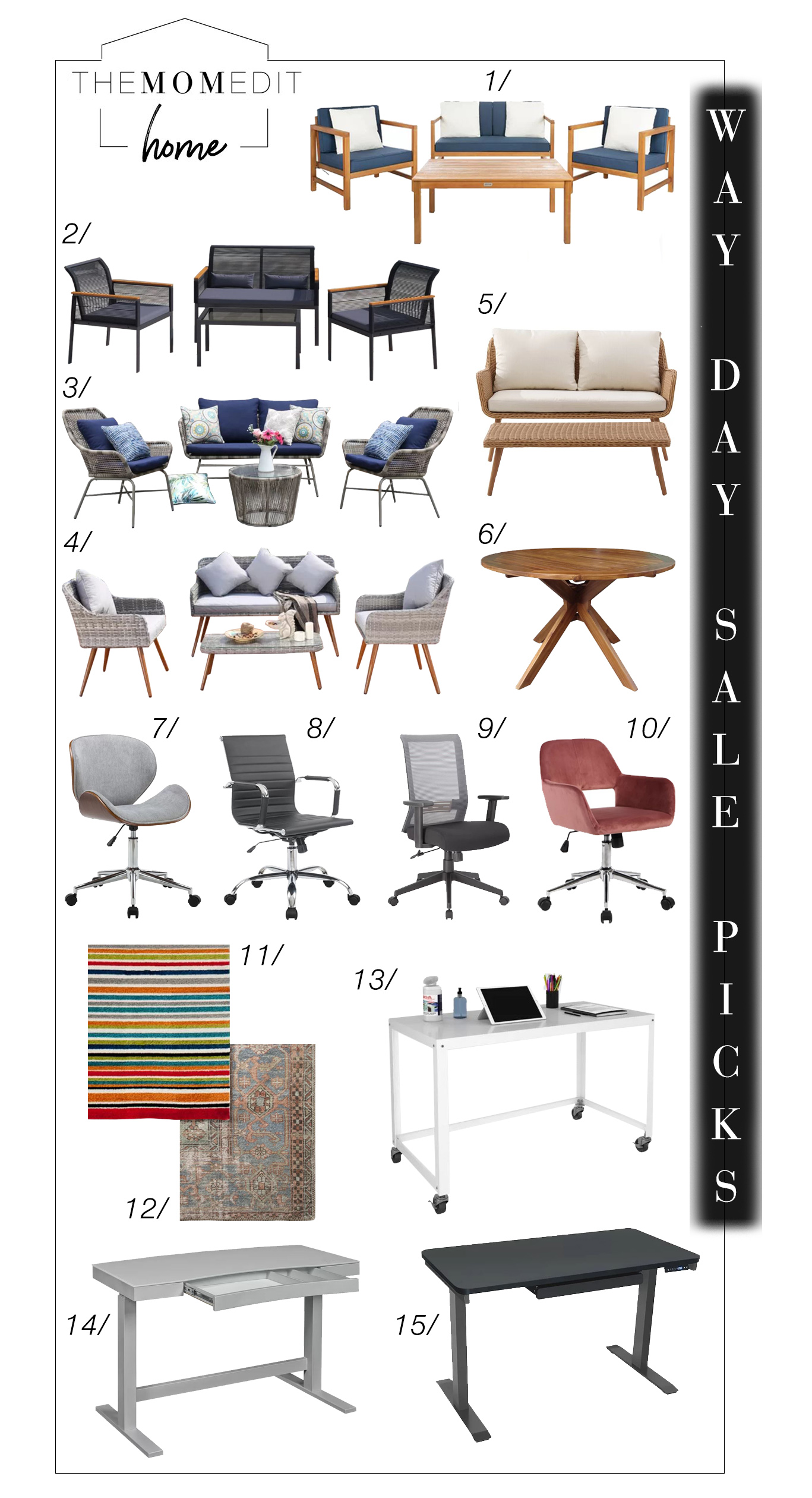15 strong deals on indoor & outdoor furniture -- desk chairs, desks & patio sets, + a few rugs. We're shopping Wayfair's Way Days sale - go!