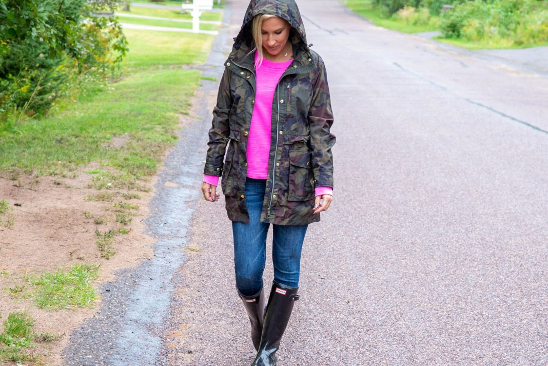 Hunter rain boots are a go-to for socializing outside & J.Crew's cute, functional Perfect Rain Jacket is just that. Hello, physically distant fun!