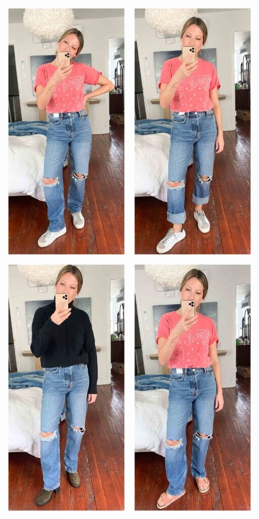 Levi's 501s are GOOD...so we're trying other straight-leg dad jeans. Topshop? Madewell? And then...what shoes? Birks, sneakers or booties?
