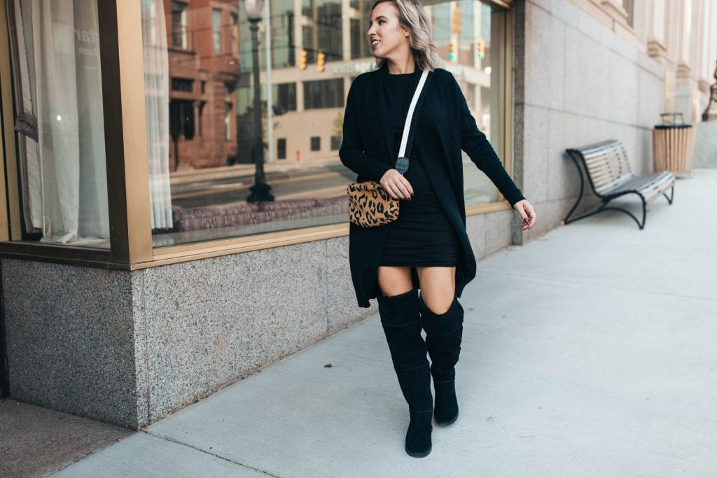 Because they're so warm, these UGG over-the-knee boots paired w/ a long cardigan & a mini dress make a great fall outfit. Inspo inside.