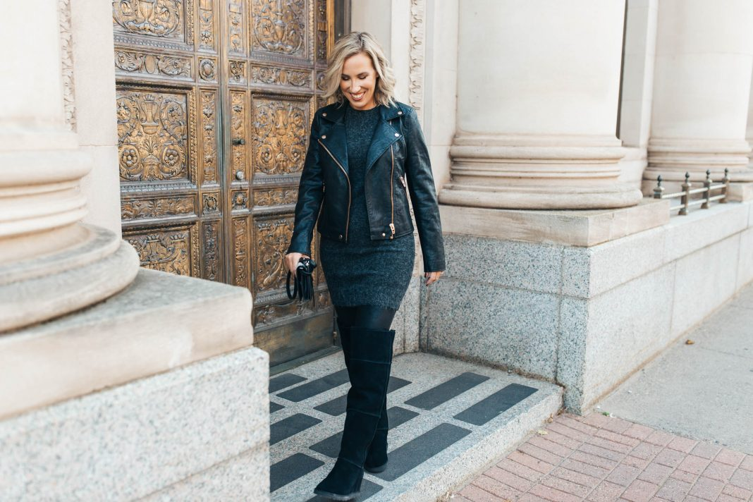 Our fall (& winter) outfit go-to will be these UGG over-the-knee boots & Spanx leggings. They'll keep us warm & cute! Here are 2 ways to style 'em: