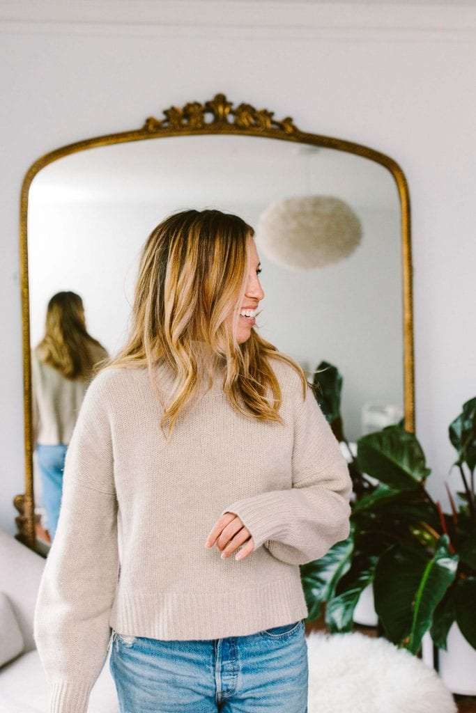We're big, HUGE Naadam fans. They make cozy, luxe sustainable cashmere & offer plus-sizes. Our big review of NAADAM sweaters & joggers, here.