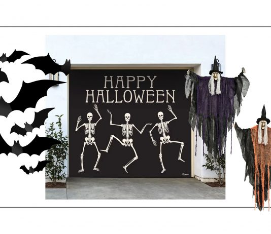 Our kids LOVE Halloween decorations, which are more about the door or front porch. Spiders & cobwebs from Etsy, Target & Amazon—inside.
