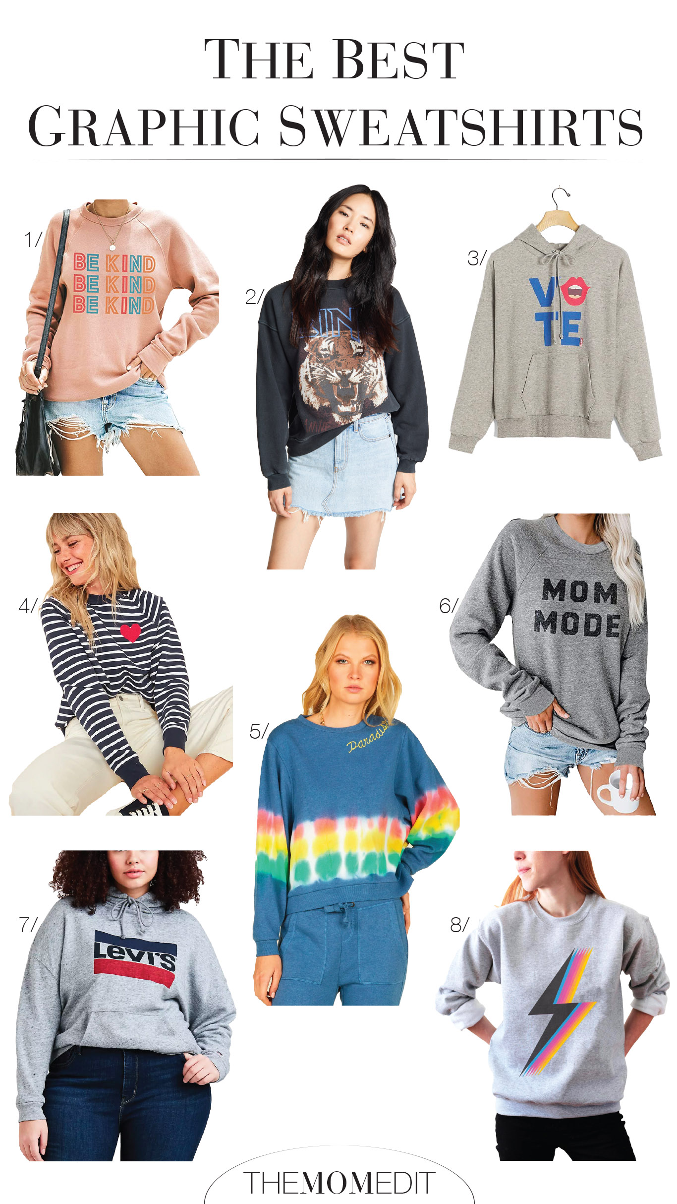 Graphic sweatshirts (AKA the graphic tee of winter) are a go-to for being comfy. We found 9 that are cute & fun -- from tie-dye to Vote hoodies.