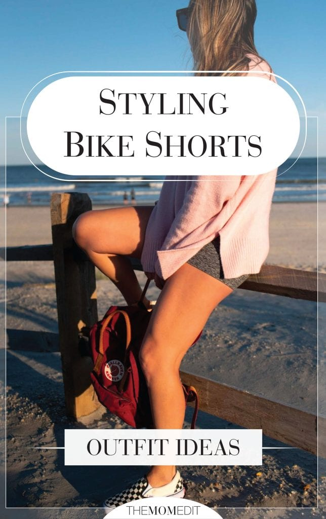 Grab a pair of biker shorts (some w/pockets) & an oversized sweater, add classic Vans + a backpack = done. Bike short outfit ideas, inside.