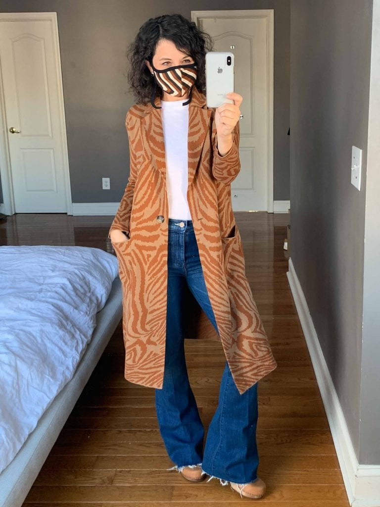 Our go-to fall style involves cute sweaters (statement cardigans or coatigans) + face masks. We're trying animal prints, fringe & bold colors!
