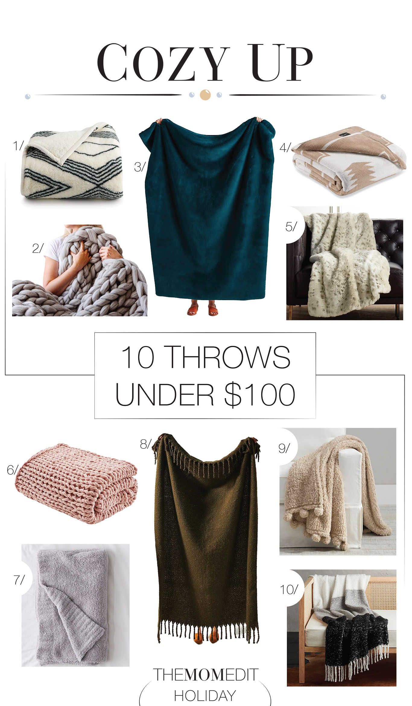 Everybody loves cozy throw blankets. So here are 10 impossibly cozy (& obviously stylish) throws under $100. Knit, sherpa, plush...Time to cuddle up.