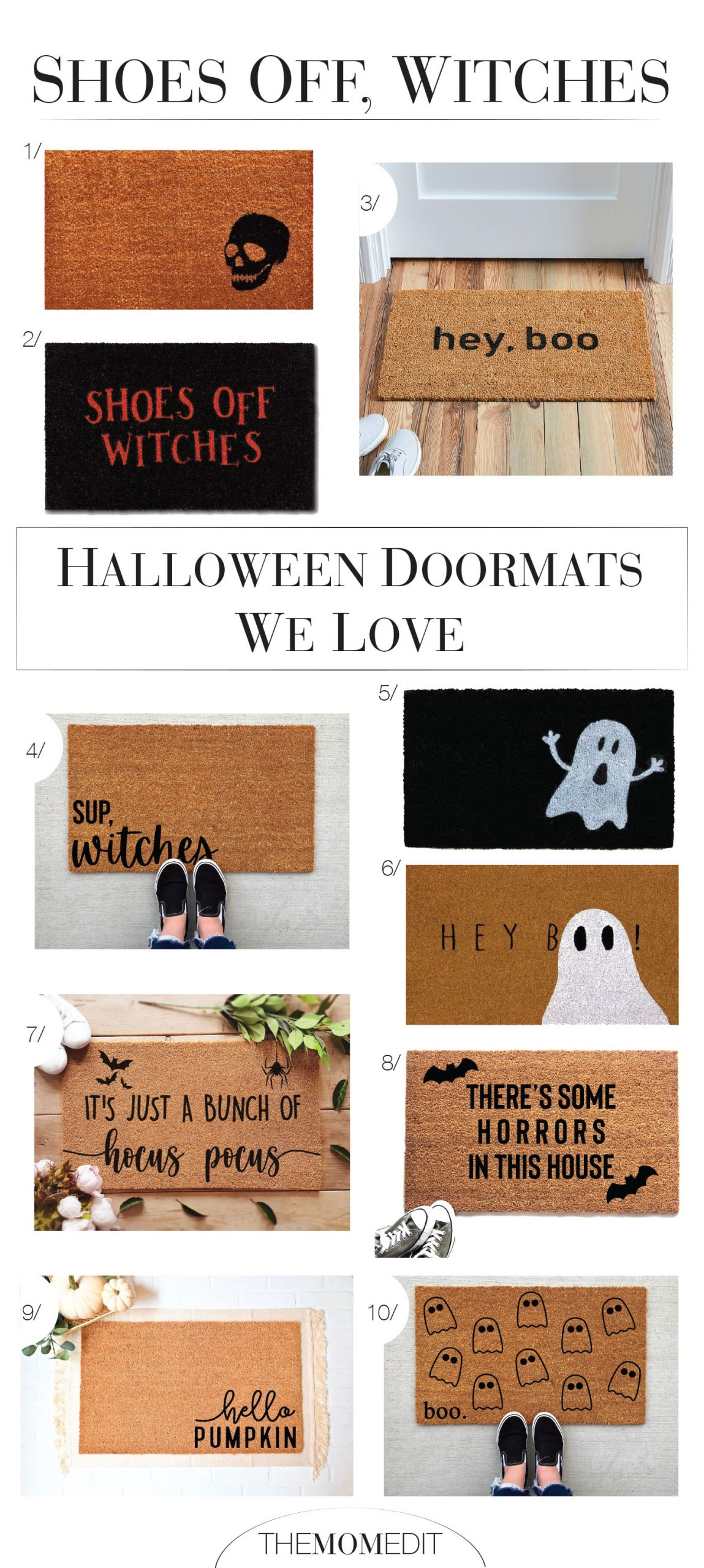 Hey, Boo caught our eye. There's Some Horrors In This House had us ROFL & so did 8 other Halloween doormats. Fun fall decor, inside (Shoes off, witches).