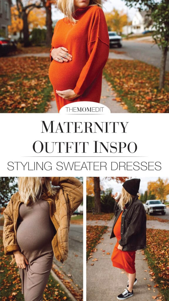 The sweater dress is a cute solution to maternity clothes. Sweater dresses work before, during & after pregnancy for casual or dressy outfits.