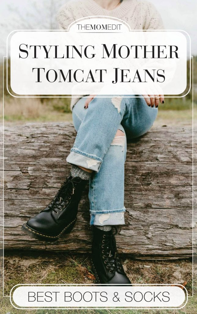 Problem? Wearing cropped straight leg jeans (like MOTHER Tomcat) in winter. Solution: cuff & add socks. Style w/ combat boots or clog boots = outfit gold.