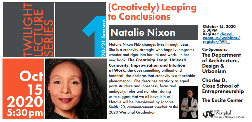 Introducing Natalie Nixon PhD., author of The Creativity Leap; Black female entrepreneur; president of Figure 8 Thinking; friend. Cozy up.