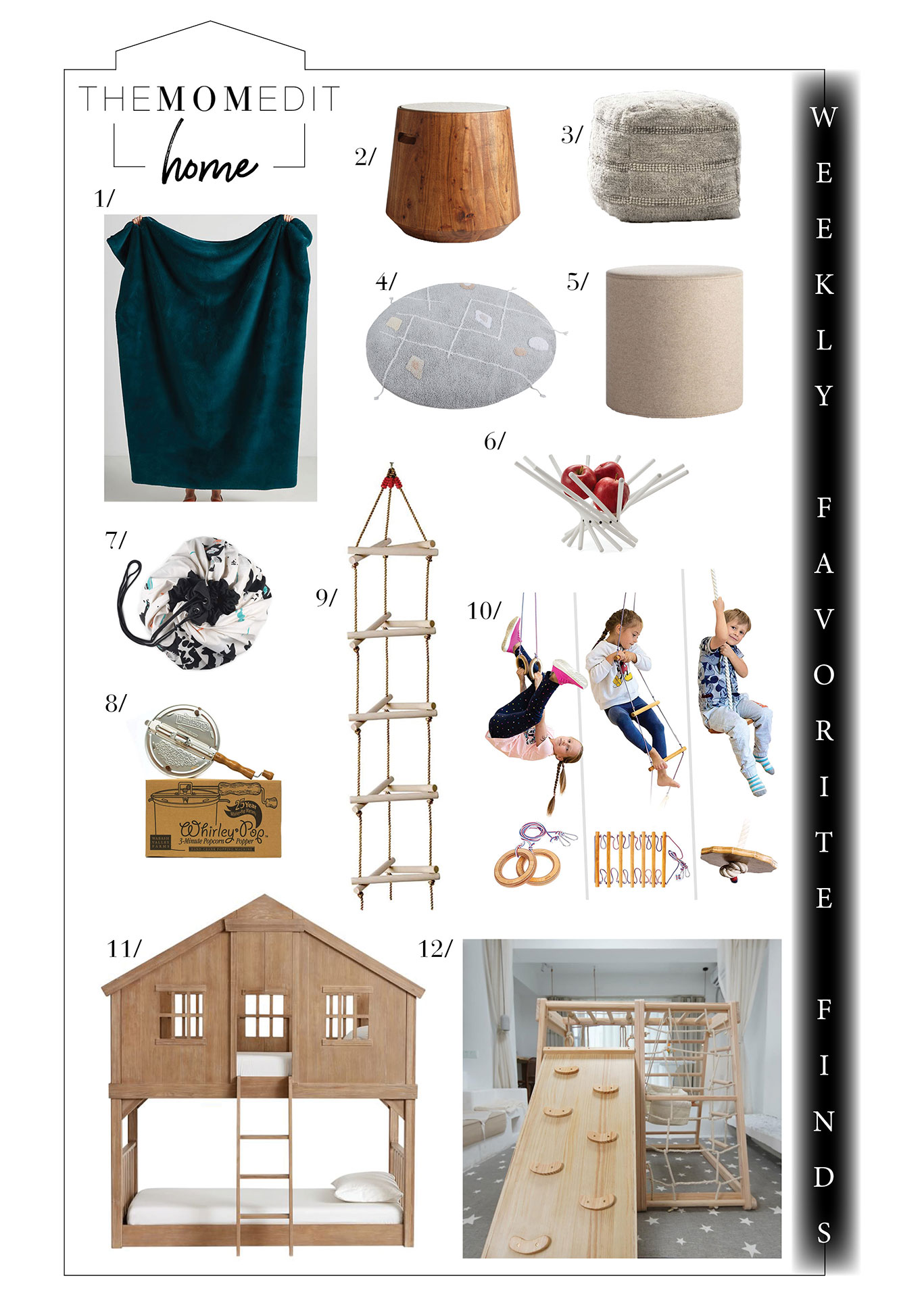 We have fun in the form of poufs & indoor gyms for the kids + other fun gifts for home. Check out Yowie, a Black-owned business, plus CB2 & Macy's.