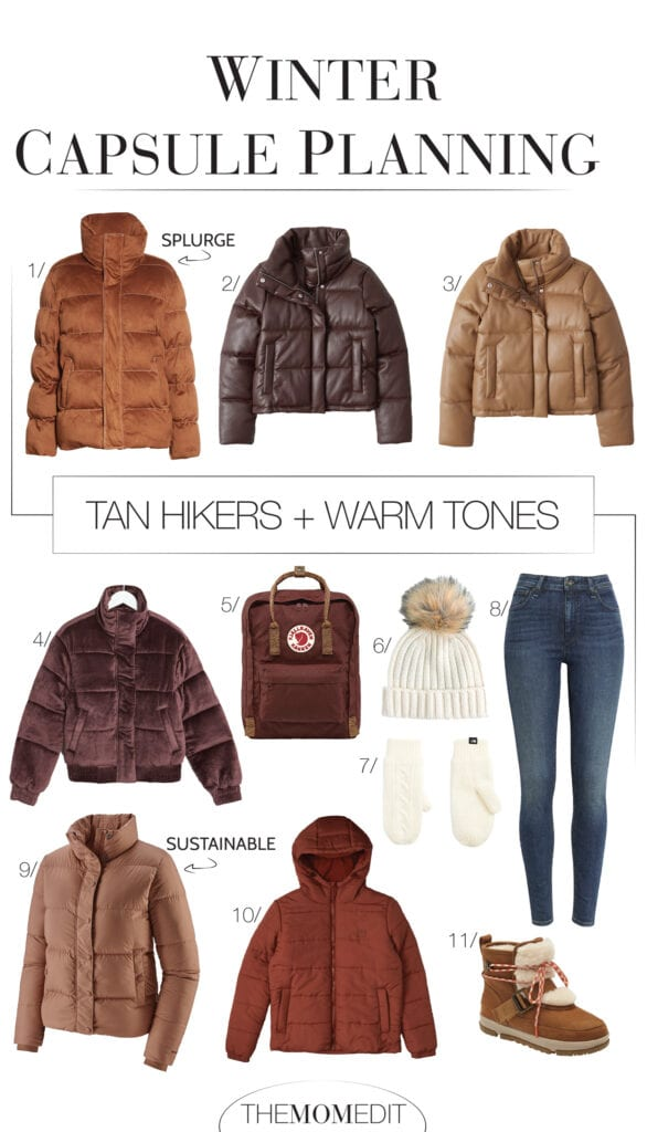 A black puffer jacket, a white or brown winter coat? For our capsule wardrobe checklist, we've got the boots & the bag, but which coat?
