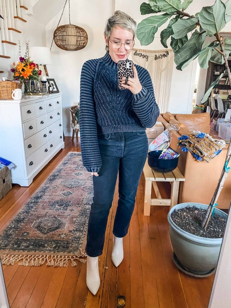 The Madewell Slim Demi is the perfect combo of straight-leg & cute bootcut jeans. The best boots to style 'em with? Think Frye, Mark Fisher & Sorel.