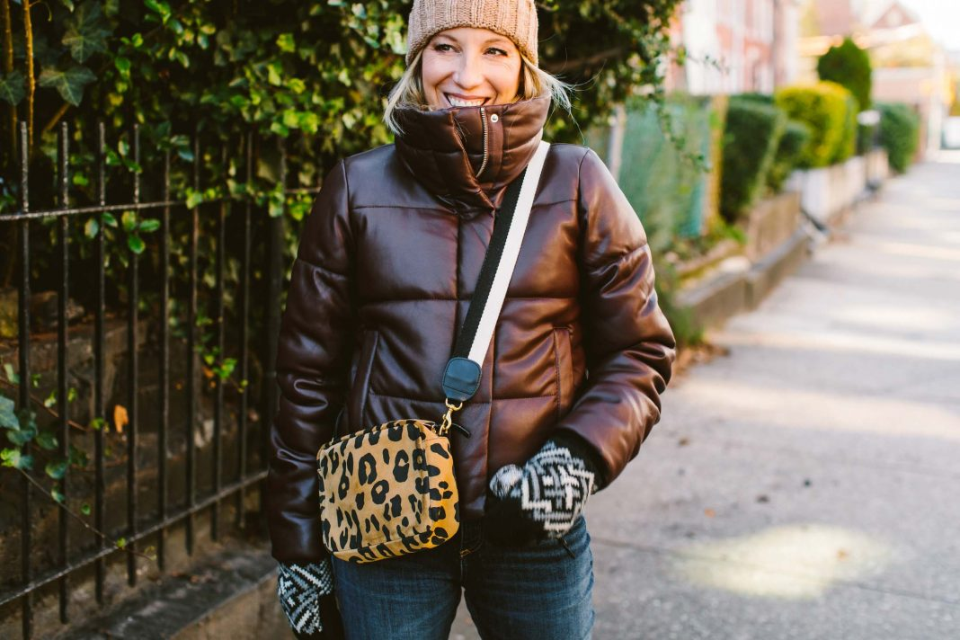 We're working new cute winter outfits for socializing outside. A fresh take, if you will. This faux-leather puffer jacket is a must, for starters.