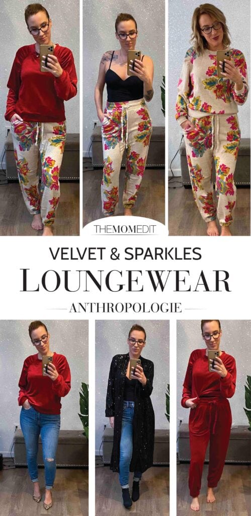 Anthropologie has velvet sweatsuits in rich jewel tones, velour sweaters w/ cool, ruched shoulders, elevated lounge sets...& OMG sparkly dusters.