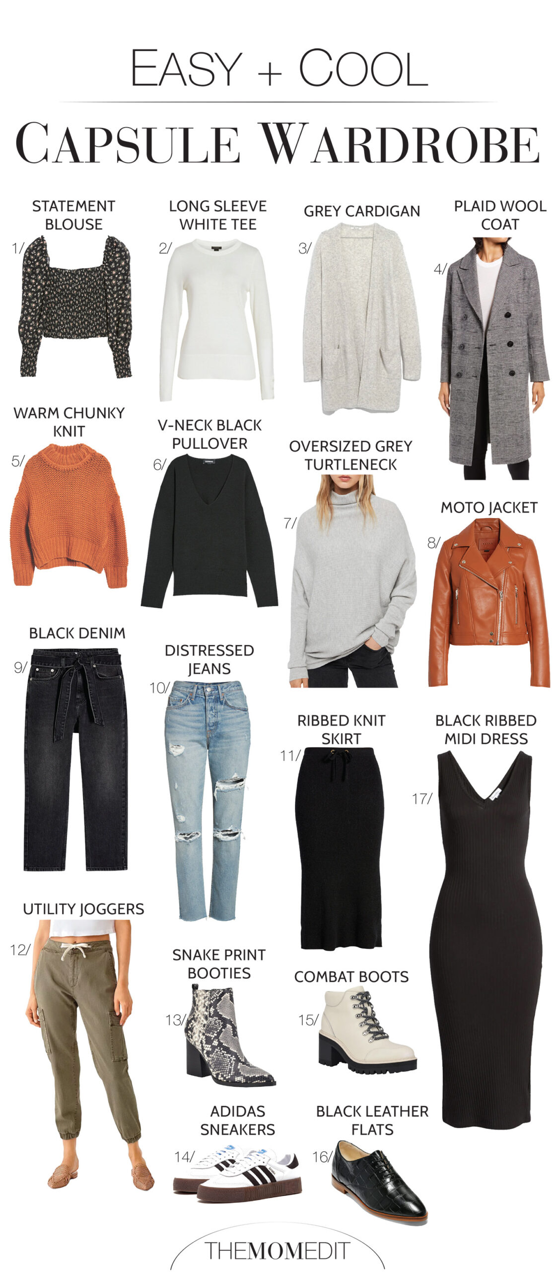 A plaid coat, adidas sneaks, combat boots, black jeans —a cool capsule wardrobe is pretty easy to build — just throw in this black dress...