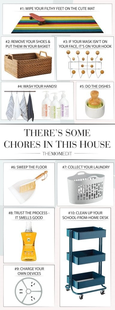 There's some chores in this house...& the kids are gonna do 'em. House rules. Washing dishes, charging devices, sweeping floors – a household essentials list, inside.