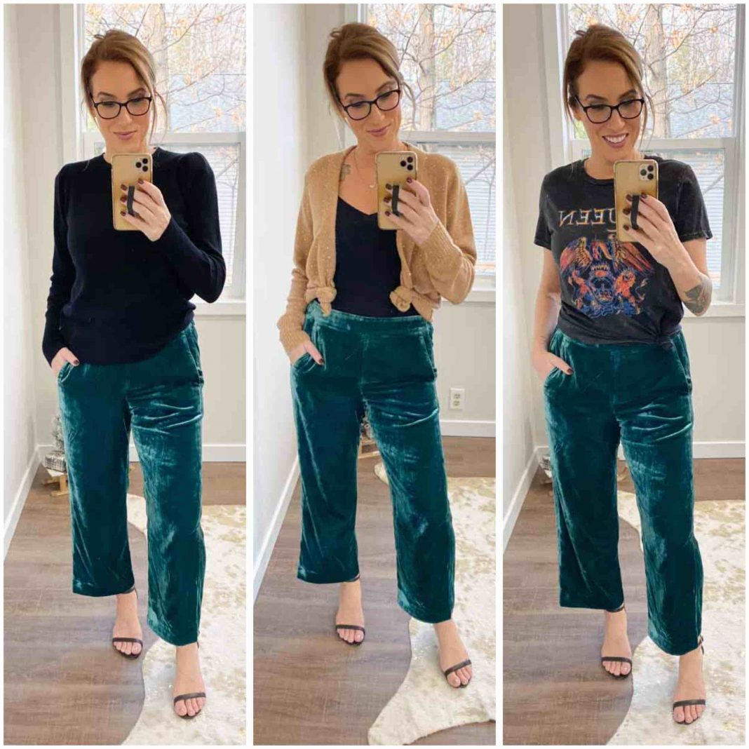 Cute pants fancy enough for the holidays, but comfy enough to sleep in? Found at J.Crew. We're styling these green velvet trousers 5 of our fave ways.