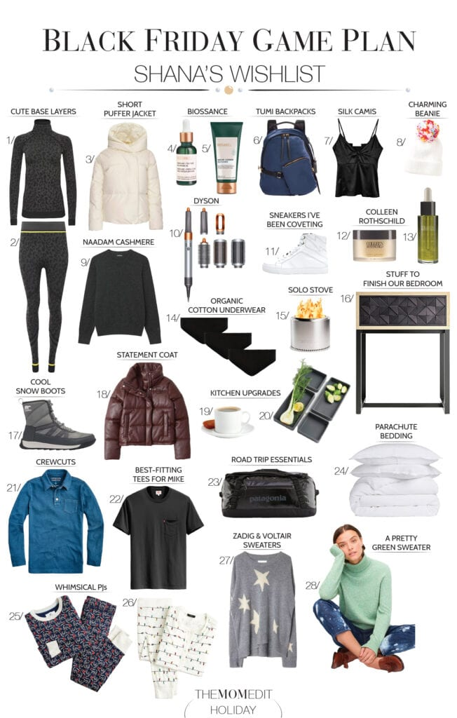 Our Black Friday shopping game plan includes Parachute, Sweaty Betty, Crate & Barrel, J.Crew, Patagonia, Dyson + more. May the deals be in our favor.