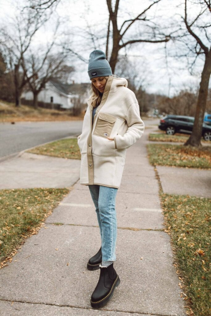 Straight-leg jeans are the easiest non-skinny jean to style -- especially in cold + wet weather. Flare jeans drag on the ground & mom jeans are especially awkward w/ warm boots, but straight-leg jeans? Well. They're the big winner.