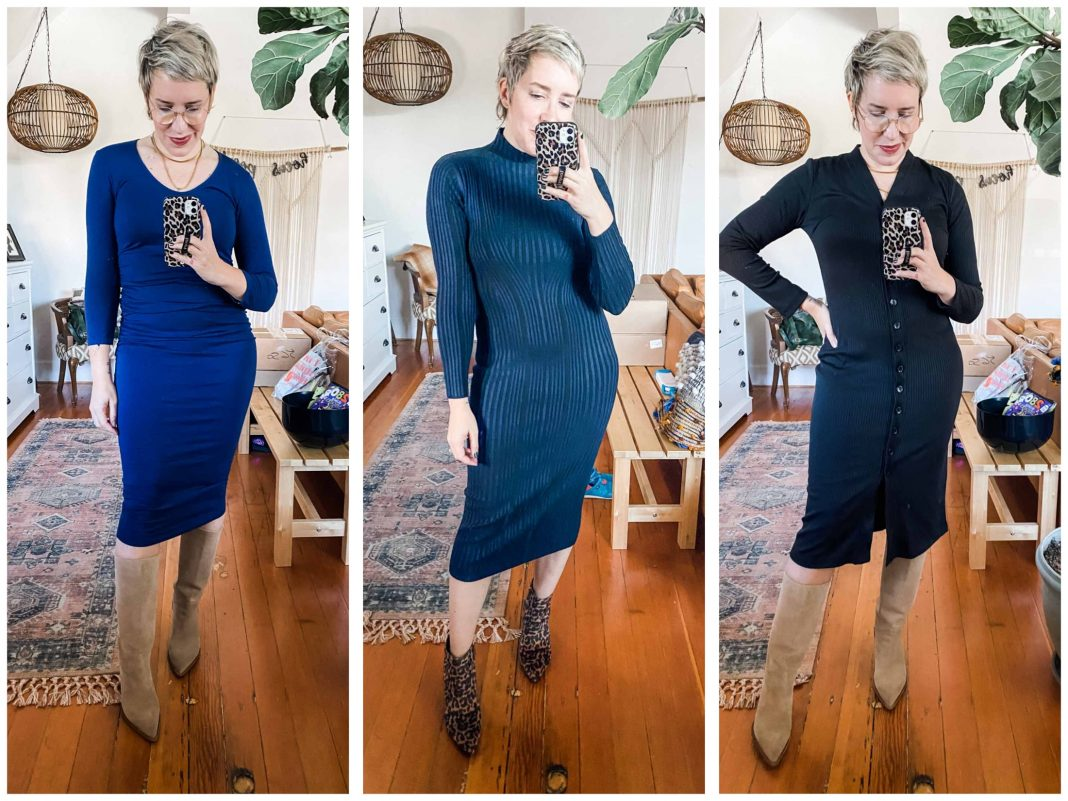 Midi dresses are stretchy, flattering & sexy. We're styling 6 —long sleeve, short sleeve, knit, comfy & chic that pair perfectly w/boots (or not).