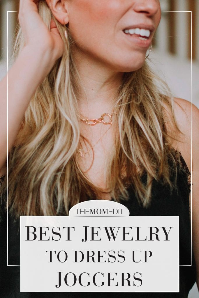 I felt better about sipping a cocktail after I slapped on makeup, a spritz of perfume & decorated mahself w/ jewels. THAT is how my joggers + jewelry outfit was born.