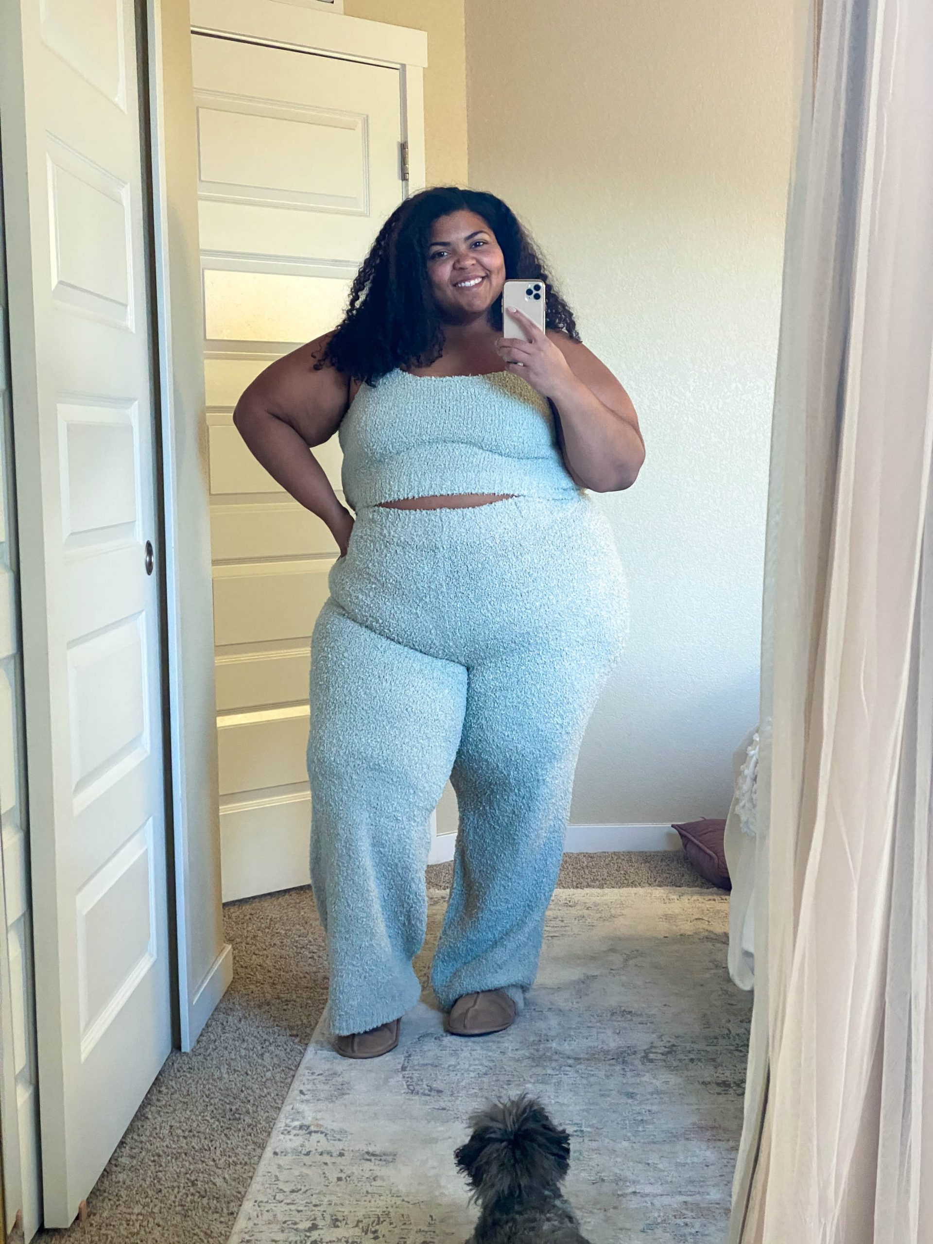 SKIMS cozy collection is SO good & worth the cost, esp. for plus-size! We tried the knit bouclé robe & the shorts + lounge sets. Review inside.