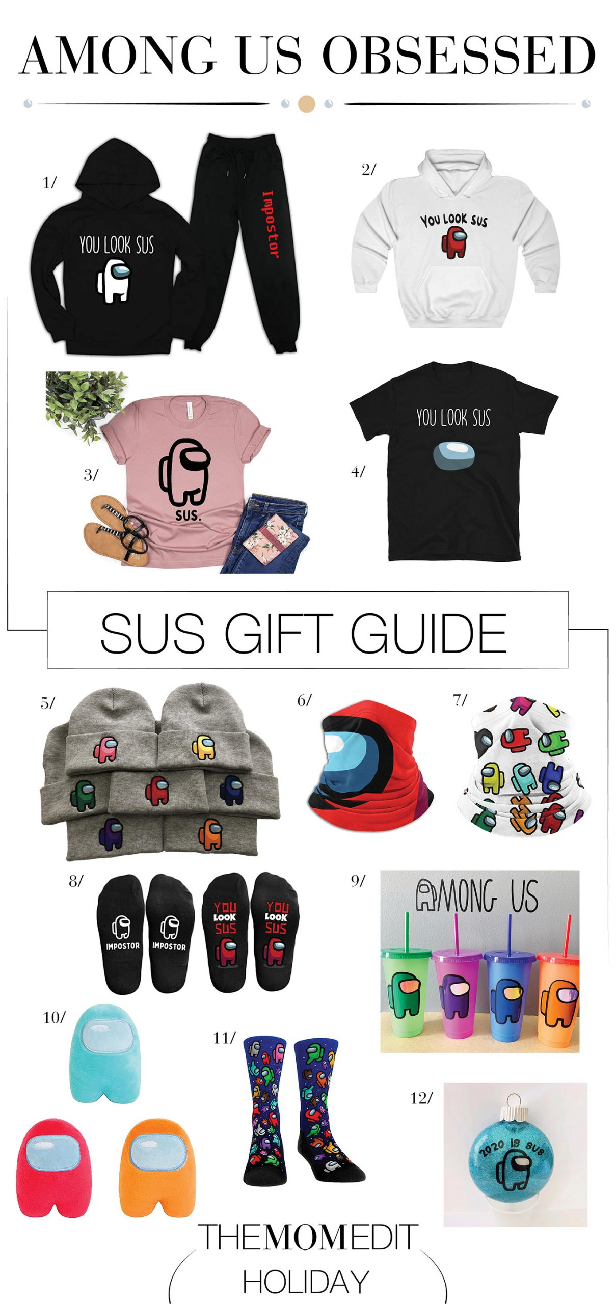 """We're obsessed. Among Us has us folding in tasks at home & """"you look sus"""" = the phrase of the day. So we're rolling w fun gifts, for the imposter among us."""