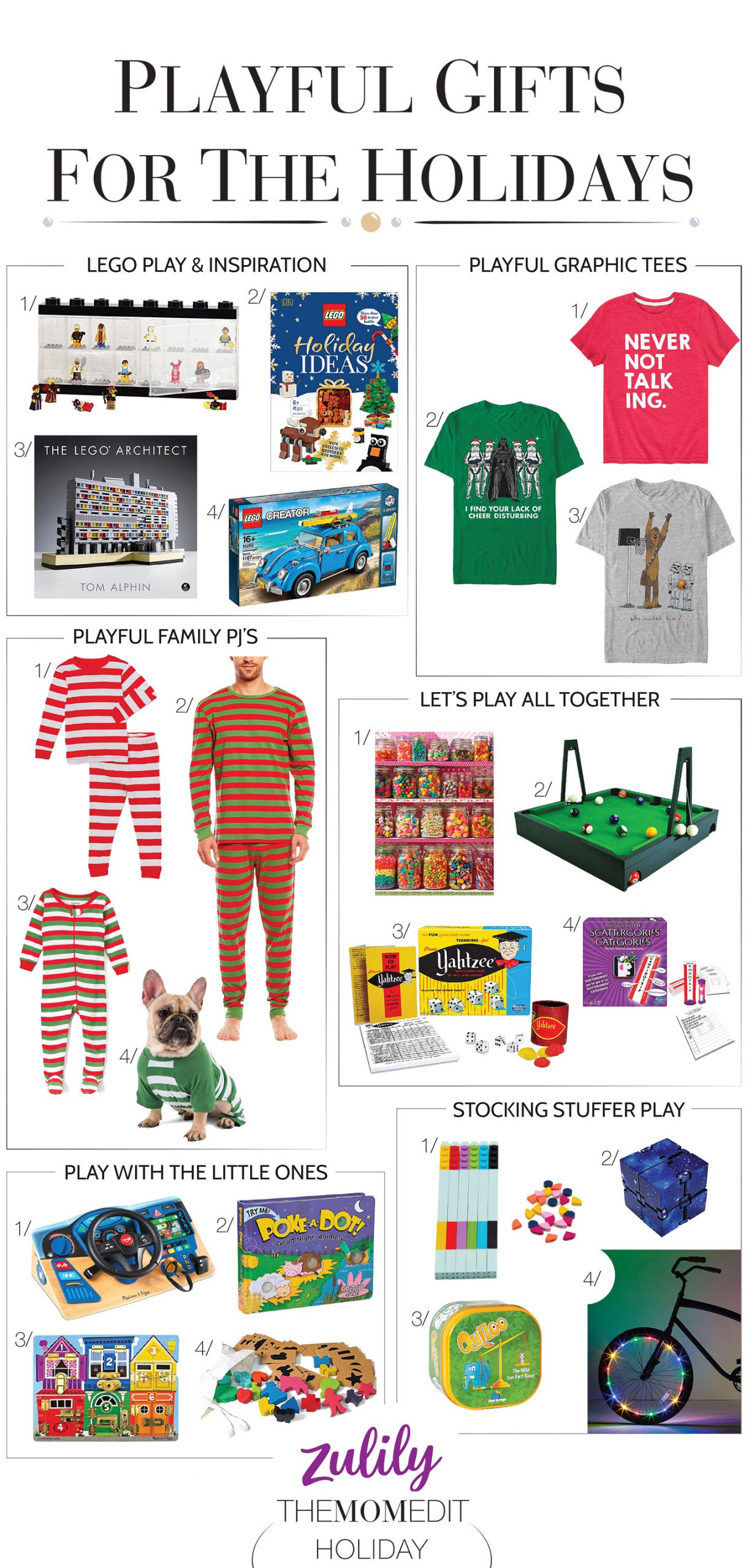 Let's play! We're shopping fun gifts — think LEGO, Star Wars, matching family pj's, graphic tees & of course, games. Zulily is on it — #addtocart.