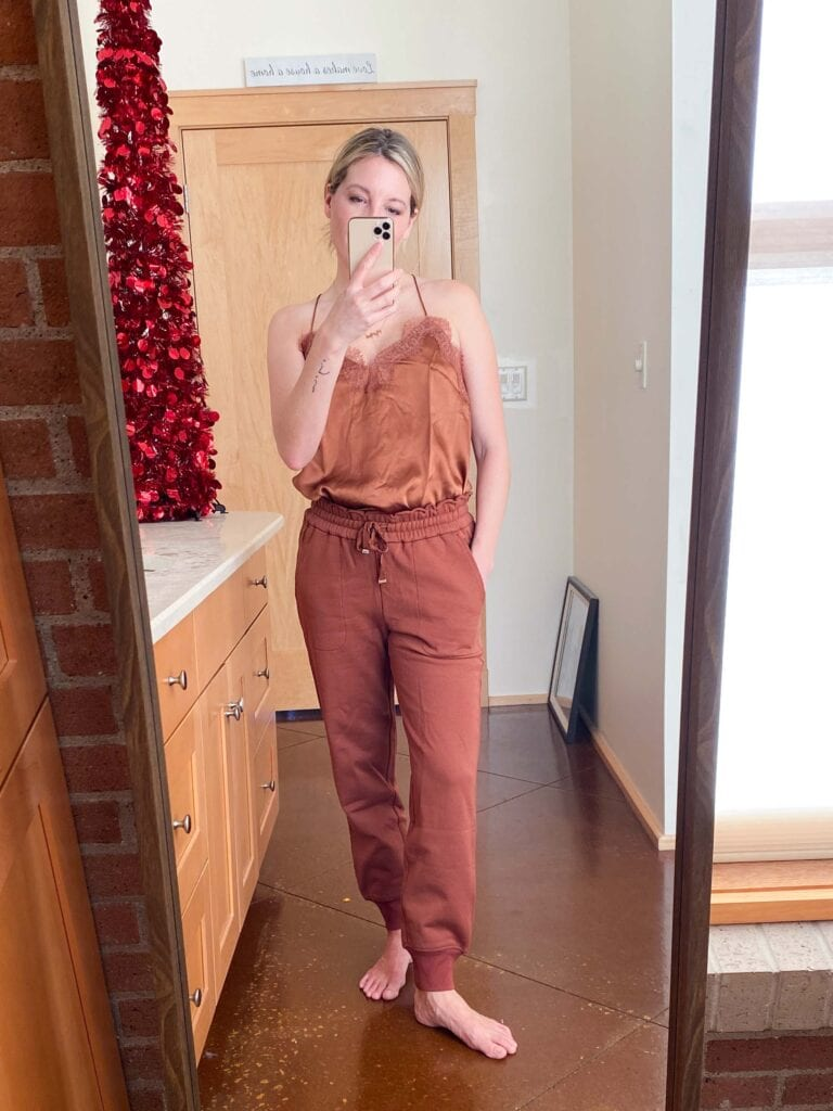 In addition to silk camis (gorg), CAMI NYC launched similar lace-trimmed tanks in a drapey jersey knit. OH —& a line of cotton joggers. Let's go.